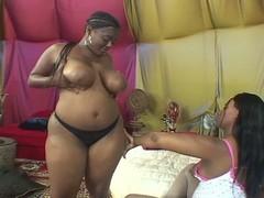 Hot Ebony Lesbian Takes Her Tigh...