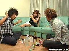 Drunk Japanese Girl In A Sizzling Hot Threesome