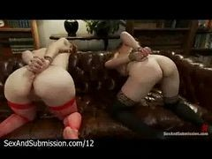 Two Bound Babes Fucked By Master