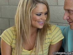 Blonde College Babe Finds Sugar Daddy For Help With S...