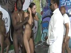 Brunette Amber Rayne In A Blowbang With Big Hard Black Cocks