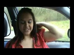 Big Boob Exhibitionist Flashing Outside In A Car
