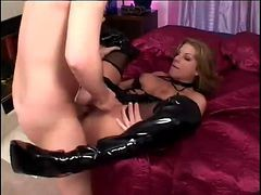 Sexy Milf Jackie Moore In Boots And Leather