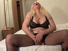 Busty Blonde Mature In Stockings Panty Stuffing