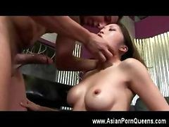 Asian Babe Fucked Deep In The Mouth