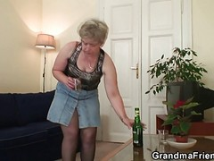 Granny Is Warming Up Her Cunt Be...