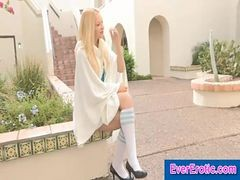 Sexy Blonde Shows Upskirt Pussy