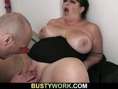 Massive Tits Bbw Brunette Opens Wide For Fucking