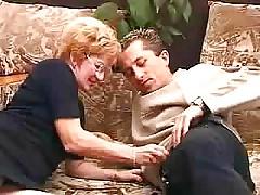 Granny Satisfies A Boy,creampie