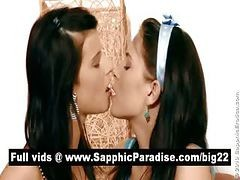 Lovely Brunette Lesbians Kissing And Licking Nipples And Having Lesbian Love