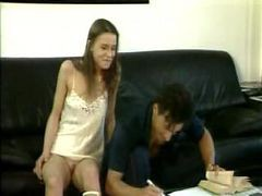 Sister Seduced Learning Brother On Couch - German Dub