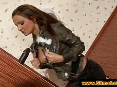 Brunette Plays With Cum At The G...