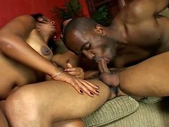 Hot Ebony With Two Bi Guys In This Threesome