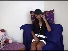 Thai Ladyboy Amy Strokes Her Coc...