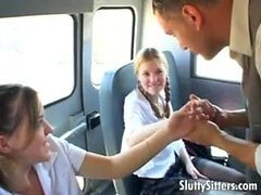 Schoolgirls On The Bus Share His Big Cock