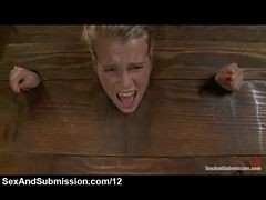 Bound In The Wall Stockade Blonde Toyed And Ass Finge...