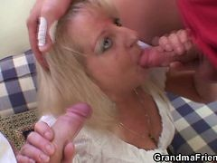Drunk Blonde Granny In Threesome Orgy