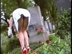 Upskirt At Cemetery
