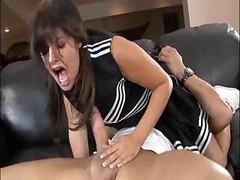 Brunette Sucks On His Cock, Gets...